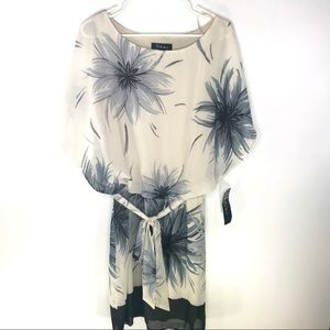 NNWT Printed Chiffon Blouson Top Dress